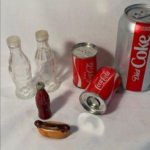 3 sets of Vintage Coke Salt & Pepper shakers